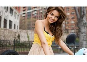 人,嘴唇,黑发,微笑,米兰达・克尔,黄色,看着观众,美女,模特1168