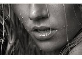 人,嘴巴,特写,湿,单色,美女,面对,嘴唇,张开嘴,雨,水滴,湿的头发,
