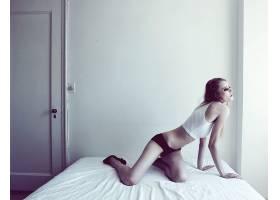 人,在床上,扩散的,苍白,黑色内裤,恩雅Bakunova,美女,模特29977
