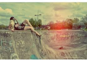 人,美女,滑板,滑板公园,城市的,帽子,黥18161