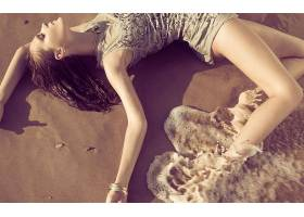 人,模特,简单的背景,美女,闭着眼睛,户外的女人,砂,海滩,水67785