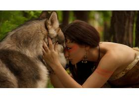 人,性质,美女,狼,黑发,森林,动物,幻想女孩,幻想艺术44455