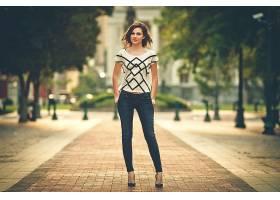 人,美女,模特,臀部,城市的,户外的女人,牛仔裤38423