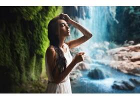 人,美女,瀑布,闭着眼睛,长发,湿的头发,户外的女人33760