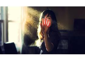 人,美女,灯火,灰尘,阳光,太阳光线,夏季,肖像,手,阳光,窗口14119