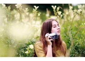 人,户外的女人,白花,相机,黑发,性质,模特,美女32109