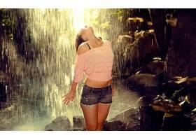 人,美女,短裤,牛仔短裤,瀑布,户外的女人,模特62775