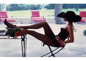 人,美女,时尚,帽子,玫瑰,丝袜,双腿向上,坐在,双手放在臀部,椅子,