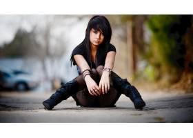 人,美女,景深,城市的,坐在,靴子,户外的女人,长发,背景虚化,戒指1