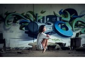 人,涂鸦,美女,黑发,牛仔短裤,蹲,Spitzen,壁,芭蕾舞演员35439