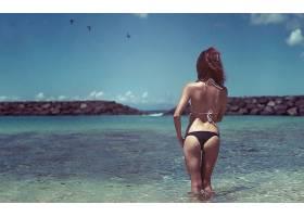 人,比基尼泳装,美女,背部,海,游泳衣,差距,沙覆盖,屁股,户外的女