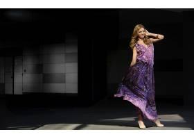 人,美女,米兰达・克尔,模特,黑发,蓝眼睛,紫色礼服32092