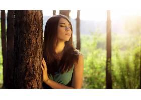 人,美女,树木,长发,红发,闭着眼睛,面对,模特30536