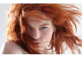 人,美女,红发,模特,面对,卷发,张开嘴,白色背景,头发在脸上,肖像,