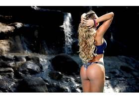 人,瀑布,美女,金发,卷发,屁股,户外的女人,胳膊72351