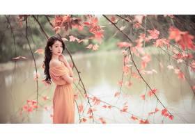 人,模特,亚洲,美女,户外的女人,树叶,树木,长发,秋季,连衣裙,看着