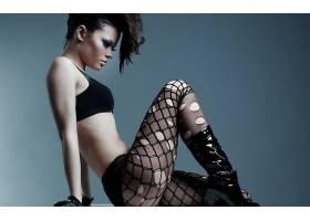 人,美女,丝袜,胸罩,靴子,轮廓,简单的背景,黑色胸罩,模特5939