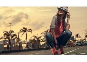 人,牛仔裤,美女,高跟鞋,城市的,手镯,帽子,跪16272