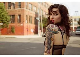 人,美女,红发,黥,女用贴身内衣裤,建造,街,黑发,El Wood,城市的,