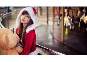 人,美女,亚洲,黑发,长发,Santa服装,Agnes Lim,圣诞,泰迪熊7323