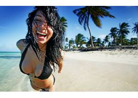 人,美女,胸部,黑发,海滩,棕榈树,微笑,湿的头发,黑发,比基尼泳装,