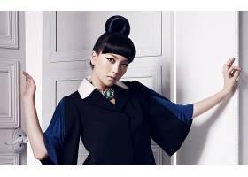 人,美女,模特,亚洲,黑发,黑眼睛,门,发髻,常设,棕色的眼睛30471