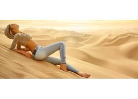 人,玛丽安娜达瓦洛斯,美女,躺着,砂,沙漠,性质,景观,牛仔裤,模特,