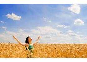 人,美女,胳膊,领域,天空,云,闭着眼睛,户外的女人32093