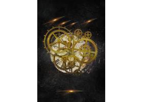 黑金创意齿轮元素海报背景模板