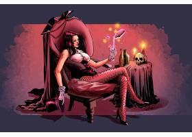 漫画壁纸,Zatanna,女孩,哥伦比亚特区,漫画壁纸,坐着的,手套,椅子