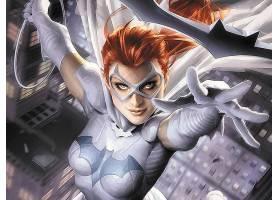 漫画壁纸,蝙蝠女侠,女孩,面具,橙色的,头发,微笑,特写镜头,手套,