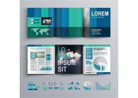 蓝绿色商务画册素材图片
