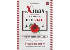 创意红色条纹圣诞球背景圣诞节海报模板