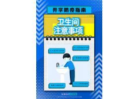 蓝色简约卫生间防疫注意事项科普海报