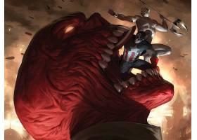 漫画壁纸,害怕,它自己,船长,美国,红色,头盖骨,壁纸(1)