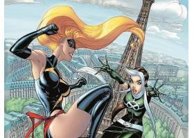 漫画壁纸,复仇者,vs .,x战警,x战警,女士,奇迹,流氓,巴黎,埃菲尔