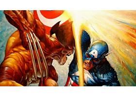 漫画壁纸,复仇者,vs .,x战警,x战警,金刚狼,船长,美国,壁纸