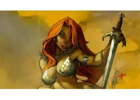漫画壁纸,红色,Sonja,壁纸(5)