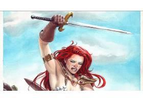 漫画壁纸,红色,Sonja,壁纸(7)