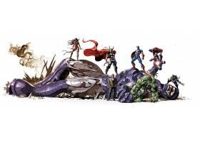 漫画壁纸,拼贴,埃莱克特拉,托尔,船长,美国,赫然显现,蜘蛛侠,金刚