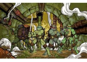 漫画壁纸,TMNT,青少年的,突变异种,忍者,海龟,米开朗基罗,莱昂纳