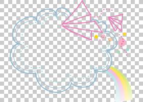 动画片,云彩边界,云彩与彩虹和飞行纸飞机PNG clipart框架,蓝色,图片