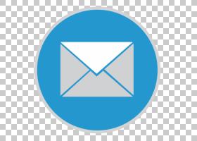 蓝色三角区域符号浅绿色,邮件,圆形蓝色和白色邮件图标PNG剪贴画