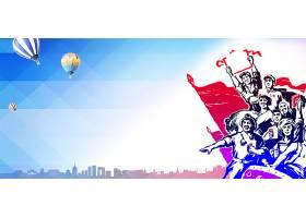 热气球与工农民背景五一劳动节背景图片