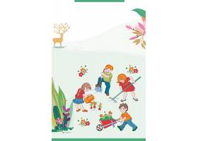 卡通孩子背景五一劳动节模板图片