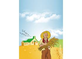 丰收的农民背景五一劳动节模板