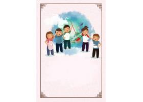 卡通打扫卫生的孩子背景五一劳动节模板图片