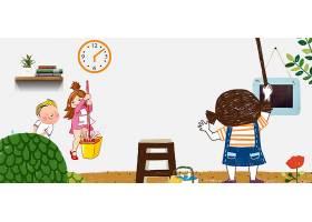 清洁卫生的卡通人物背景五一劳动节模板图片