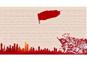 创意红色怀旧风五一劳动节模板