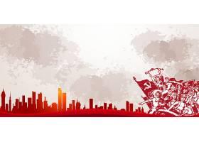 红色风建筑与工农民背景五一劳动节模板
